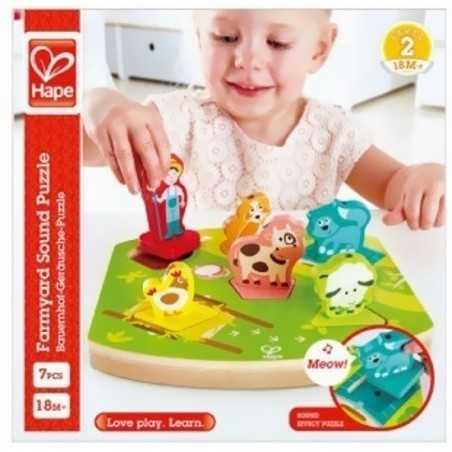 PUZZLE SONORO DEL CORTILE farmyard sound puzzle HAPE gioco in legno E1614 da 18 mesi +