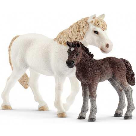 GIUMENTA PONY E PULEDRO animali in resina SCHLEICH miniature 42423 cavalli horse club