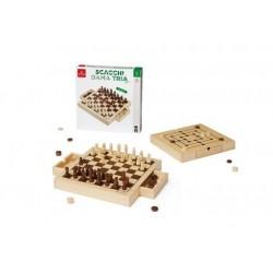 SCACCHI DAMA TRIA 30 x 30 cm BASIC in legno di pino DAL NEGRO dalnegro CLASSICO età 8+