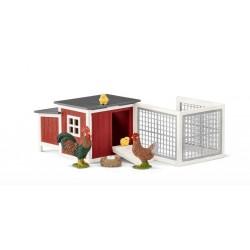 POLLAIO con gallo gallina e pulcini Schleich 42421 Farm World fattoria