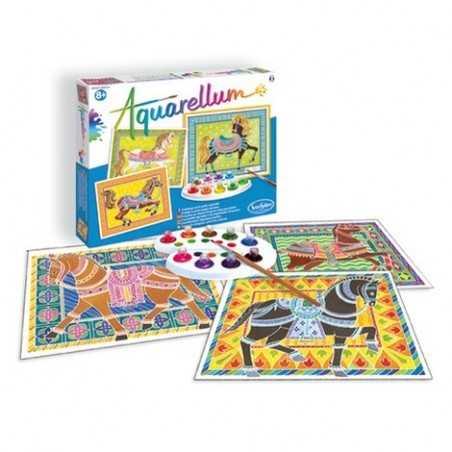 AQUARELLUM SentoSphere 6270 CAVALLI IN PARATA kit creativo artistico da 8 anni con colori e pennello