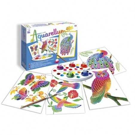 AQUARELLUM JUNIOR SentoSphere 668 ANIMALI DEL PARCO kit creativo artistico da 7 anni con colori e pennello