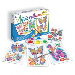 AQUARELLUM JUNIOR SentoSphere 6500 FARFALLE kit creativo artistico da 7 anni con colori e pennello
