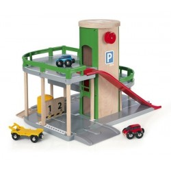 PARCHEGGIO MULTIPIANO in legno BRIO 33204 con ascensore ferrovia per treni