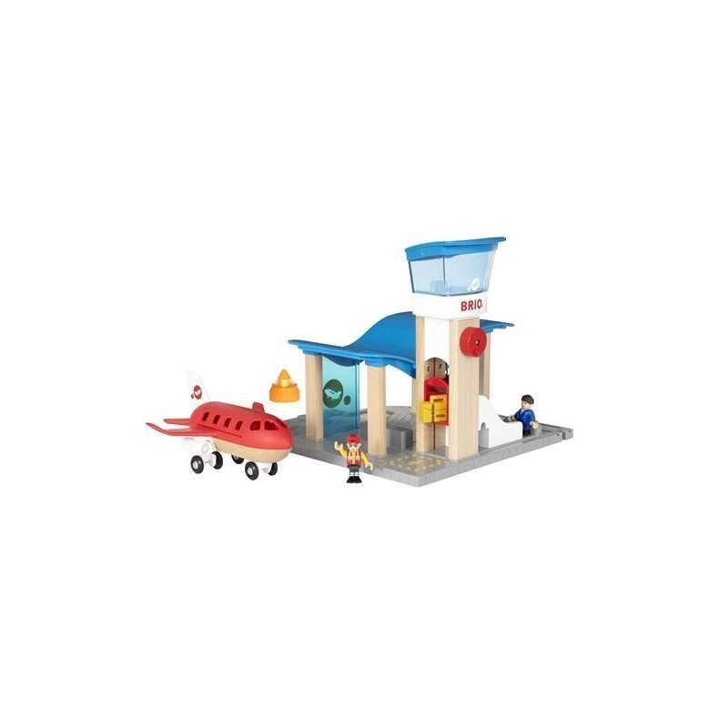 AEROPORTO E TORRE DI CONTROLLO Brio 33883 per ferrovie in legno completo di Aereo e passeggeri