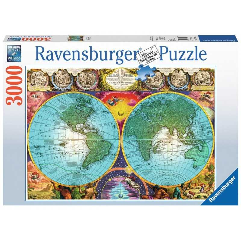 PUZZLE ravensburger ANTICO MAPPAMONDO 3000 pezzi ORIGINALE 153x101cm PAESAGGI