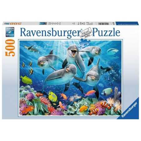 PUZZLE Ravensburger DELFINI NELLA BARRIERA CORALLINA soft click 500 PEZZI 36 x 49 cm