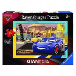 PUZZLE Ravensburger AVVENTURE A RADIATOR SPRINGS Cars 3 GIGANTE floor 24 PEZZI 49 x 69 cm età 3+