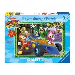 PUZZLE Ravensburger MICKEY MOUSE Disney GIGANTE floor 24 PEZZI a tutto gas 49 x 69 cm età 3+