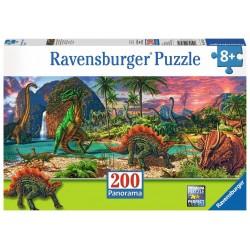 PUZZLE 200 PEZZI Ravensburger NEL PAESE DEI DINOSAURI panorama 57 X 24 CM età 8+