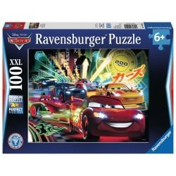 PUZZLE 100 PEZZI Ravensburger CARS 2 neon racers cup XXL Disney 49 X 36 CM età 6+