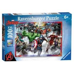 PUZZLE 100 PEZZI Ravensburger THE AVENGERS supereroi XXL Marvel 49 X 36 CM età 6+