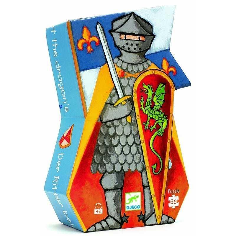 PUZZLE gioco IL CAVALIERE E IL DRAGO 36 pezzi giganti DJECO scatola sagomata DJ07223 età 4+