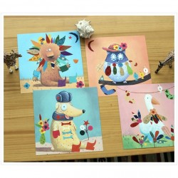 CREARE CON ADESIVI create with stickers ANIMALI kit artistico 16 TAVOLE gioco DJECO set DJ08932 età 3+