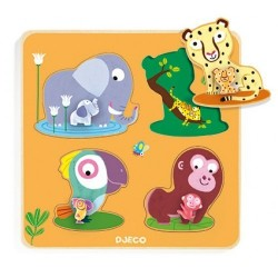 MAMIJUNGLE puzzle in legno INCASTRI pomelli sagomati 4 ANIMALI gioco set DJECO DJ01054 età 1+