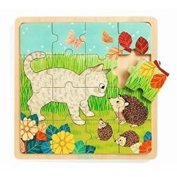 PUZZLO GARDEN puzzle in legno DJECO gioco 16 PEZZI forest DJ01813 con base INCASTRO età 3+