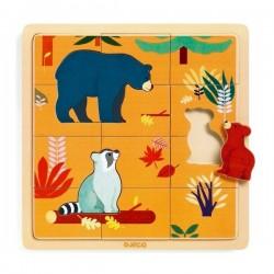 PUZZLO CANADA puzzle in legno DJECO gioco 15 PEZZI animali DJ01811 con base INCASTRO età 3+