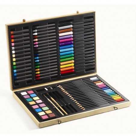 SCATOLA DEI COLORI 47 pezzi VALIGETTA DA COLORARE set per disegnare DJECO kit DJ08797 età 5+