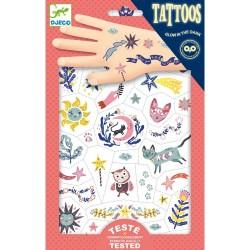 TATTOOS tattoo SWEET DREAMS tatuaggi CHE SI ILLUMINANO AL BUIO rimuovibili DJECO fosforescenti DJ09592 età 3+
