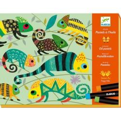PASTELLI A OLIO kit artistico GIUNGLA COLORATA animali DJ08618 creativo DJECO età 6+