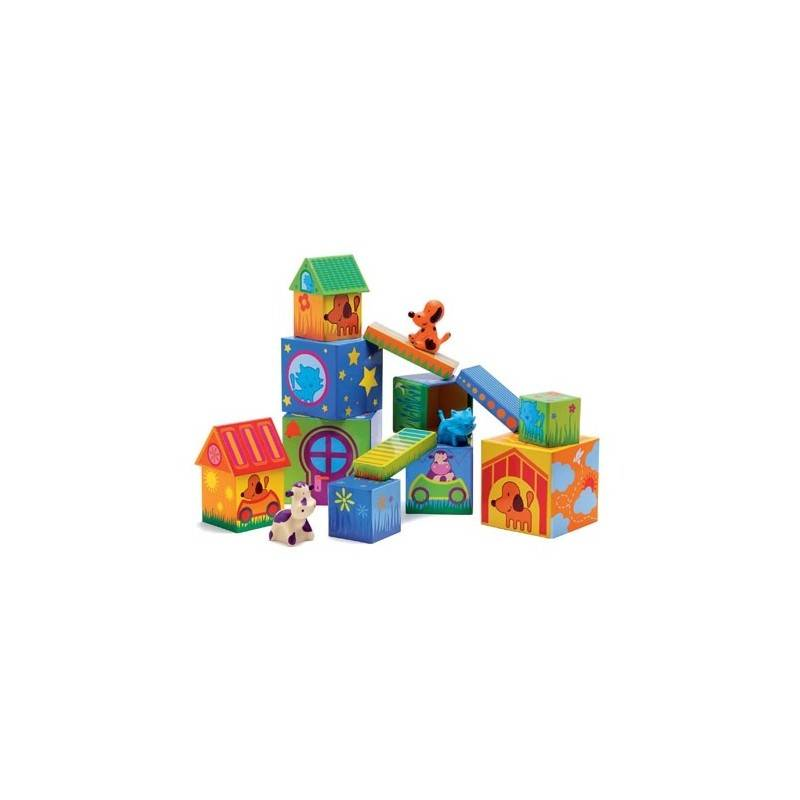 CUBANIMO SET of BUILDINGS with ANIMALS age 18 months +