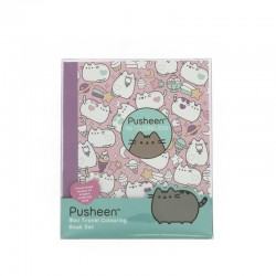 MINI SET COLOURING album e matite colorate SWEET cat PUSHEEN gatto 07H17 travel