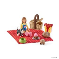PIC NIC DI COMPLEANNO Schleich FARM WORLD miniature 42426 personaggi in resina SET età 3+