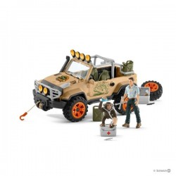 FUORISTRADA CON VERRICELLO 4x4 vehicle with winch WILD LIFE Schleich 42410 in resina SET età 5+