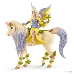 SERA CON UNICORNO DEI FIORI cavalli BAYALA miniature in resina 70565 fantasy SCHLEICH età 5+