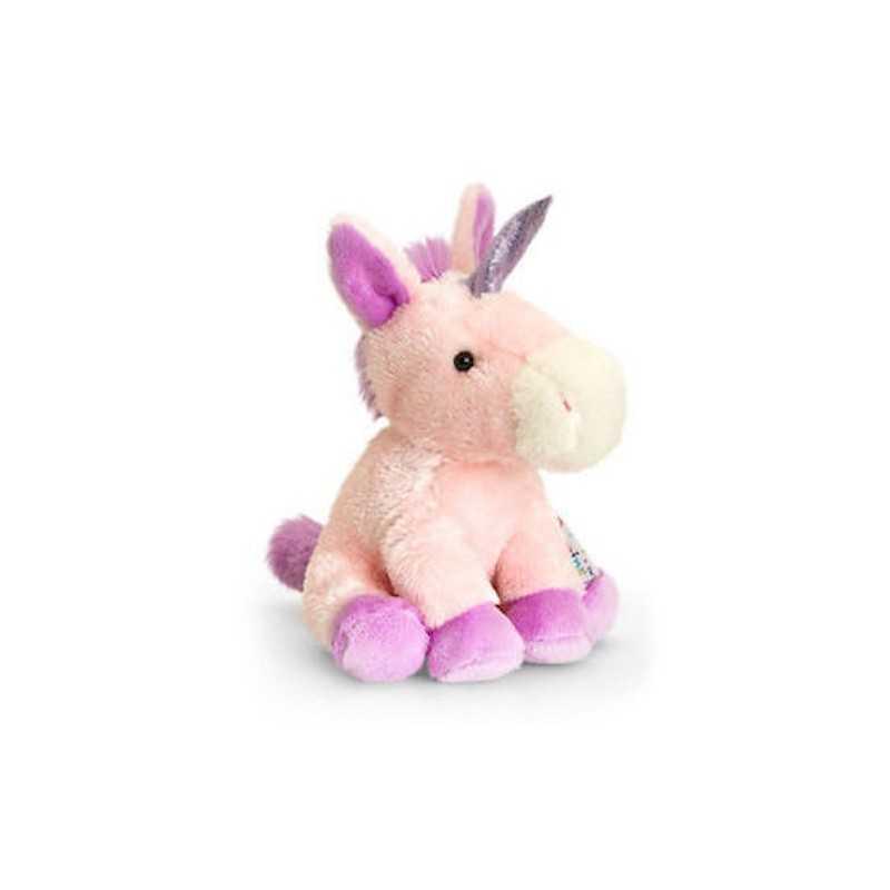 PELUCHE Pippins UNICORNO morbido ROSA Keel Toys SEDUTO cavallo PUPAZZO 14 cm
