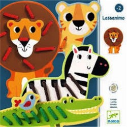LASSANIMO in legno ANIMALI gioco DJ01683 lacci 10 PEZZI costruire DJECO età 2+