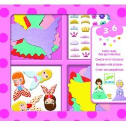 CREARE CON ADESIVI kit artistico ADORO LE PRINCIPESSE creativo DJECO DJ09053 età 3+