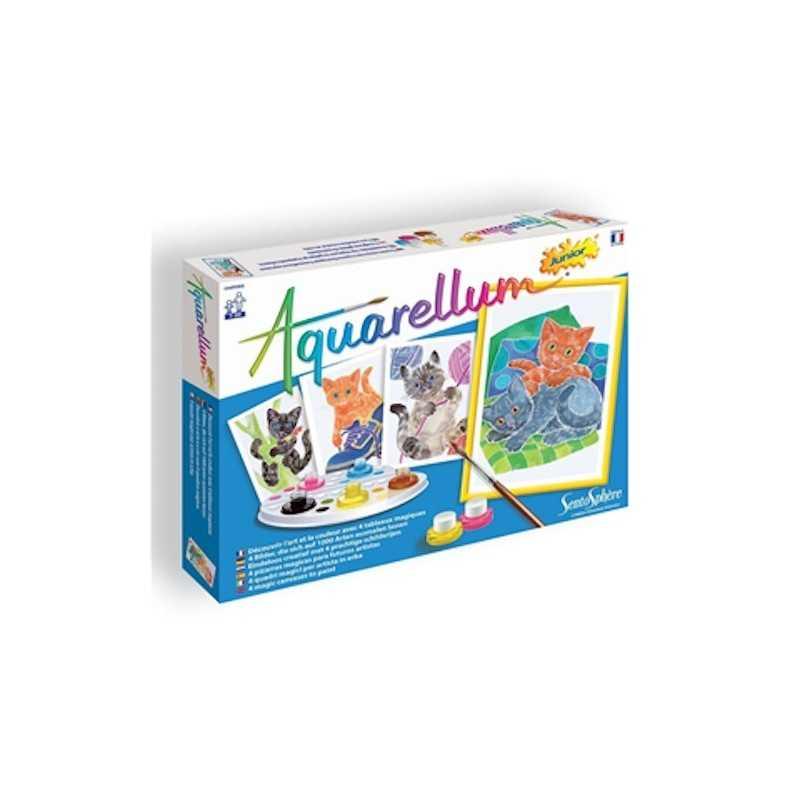 AQUARELLUM junior GATTI kit artistico SENTOSPHERE creativo SET COLORI età 7+