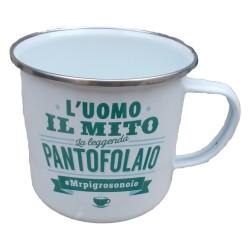TAZZA mug L'UOMO IL MITO LA LEGGENDA PANTOFOLAIO MRPIGROSONOIO in metallo BIANCA h&h