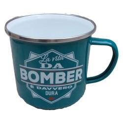 TAZZA mug LA VITA DA BOMBER E' DAVVERO DURA in metallo VERDE ACQUA h&h
