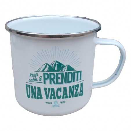 TAZZA mug KEEP CALM & PRENDITI UNA VACANZA WILD & FREE in metallo BIANCA h&h
