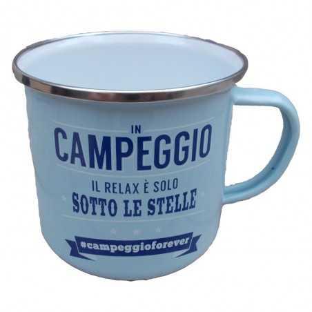 TAZZA mug IN CAMPEGGIO IL RELAX E' SOLO SOTTO LE STELLE CAMPEGGIOFOREVER in metallo AZZURRA h&h