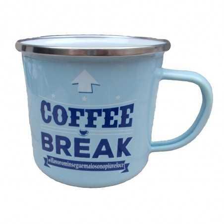 TAZZA mug COFFEE BREAK ILLAVOROMIINSEGUEMAIOSONOPIUVELOCE in metallo AZZURRA h&h