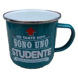 TAZZA mug HO TANTE DOTI SONO UNO STUDENTE QUALELATUADOTENASCOSTA in metallo VERDE ACQUA h&h