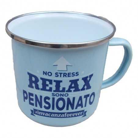TAZZA mug NO STRESS RELAX SONO PENSIONATO INVACANZAFOREVER in metallo AZZURRO h&h