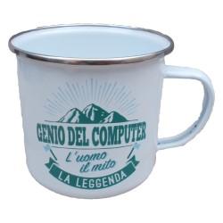TAZZA mug GENIO DEL COMPUTER L'UOMO IL MITO LA LEGGENDA in metallo BIANCA h&h