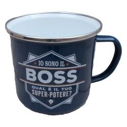 TAZZA mug IO SONO IL BOSS QUAL'E' IL TUO SUPERPOTERE? in metallo BLU h&h