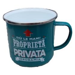 TAZZA mug GIU' LE MANI PROPRIETA' PRIVATA E' ROBA MIA in metallo VERDE ACQUA h&h