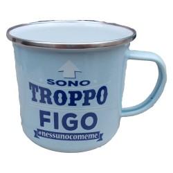 TAZZA mug SONO TROPPO FIGO NESSUNOCOMEME in metallo AZZURRO h&h