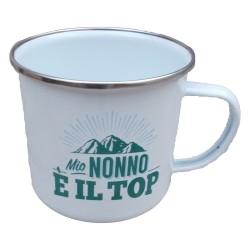 TAZZA mug MIO NONNO E' IL TOP in metallo BIANCA h&h
