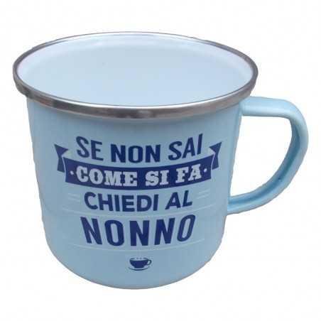 TAZZA mug SE NON SAI COME SI FA CHIEDI AL NONNO in metallo AZZURRA h&h