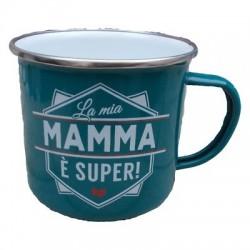 TAZZA mug LA MIA MAMMA E' SUPER! in metallo VERDE ACQUA h&h