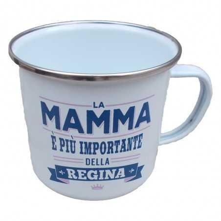 TAZZA mug LA MAMMA E' PIU' IMPORTANTE DELLA REGINA in metallo BIANCA h&h