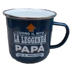 TAZZA mug L'UOMO IL MITO LA LEGGENDA PAPA' SEI IL MIGLIORE in metallo BLU h&h