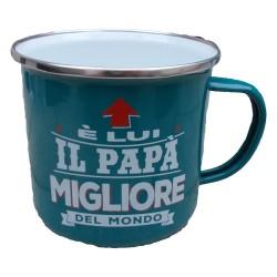TAZZA mug E' LUI IL PAPA' MIGLIORE DEL MONDO in metallo VERDE ACQUA h&h